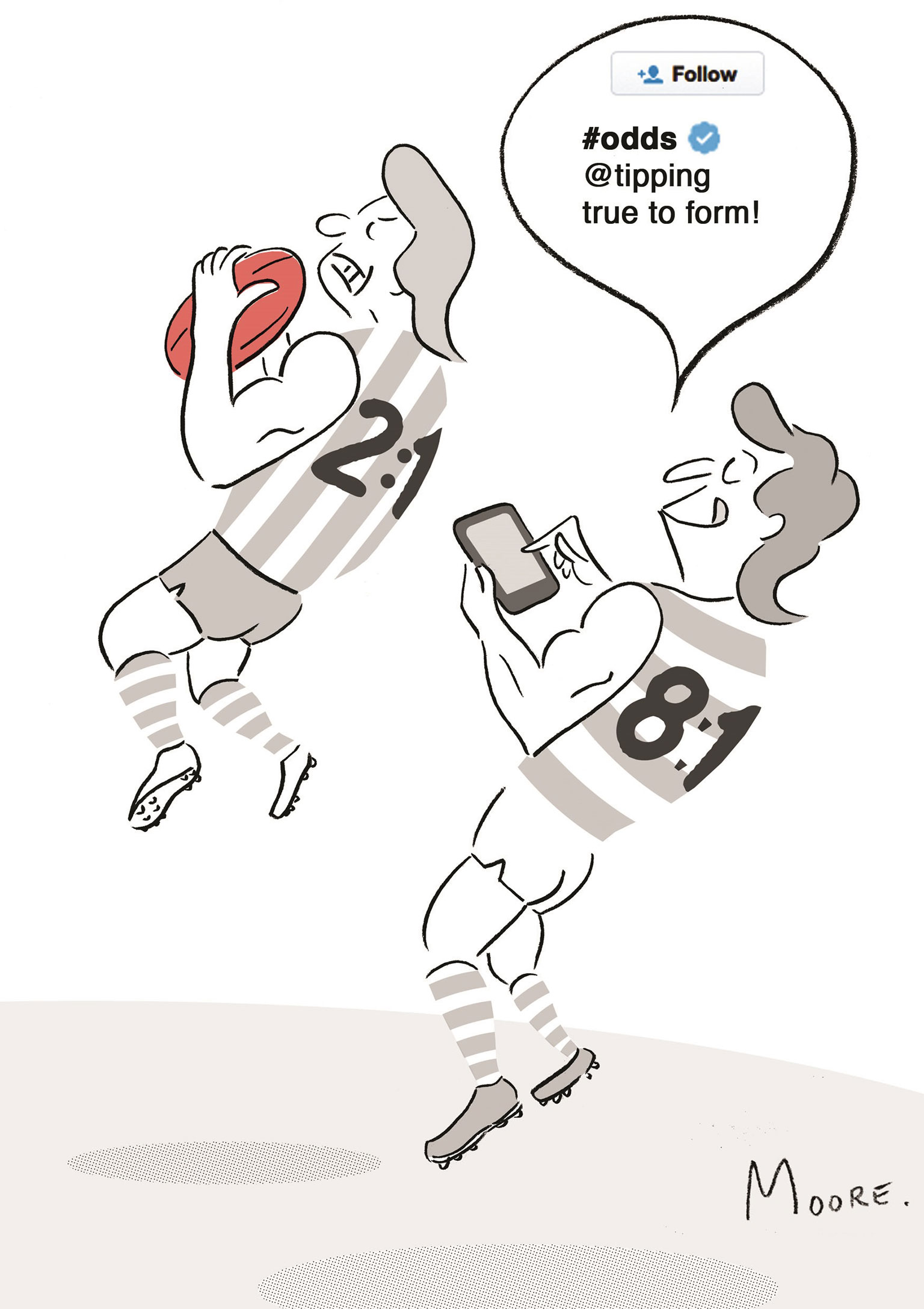 Cartoon of footy player placing a bet on his phone while opponent takes a mark