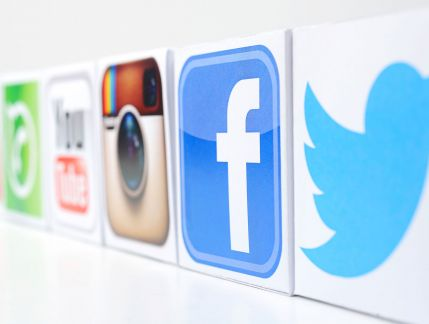 Close up of social media icons