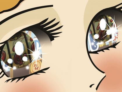 Close up illustration of wide open cartoon eyes with poker machine images reflecting inside