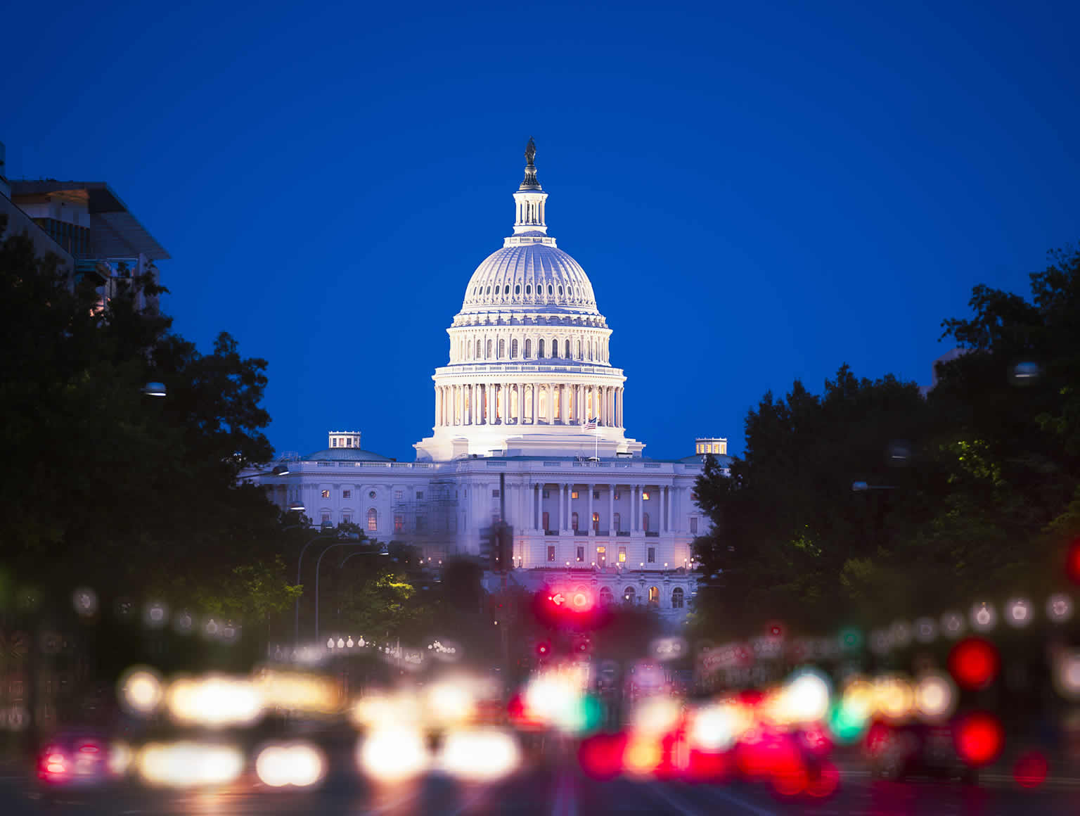 The Whitehouse lit up at night, photographed from a distance, showing tall trees on either side and blurred lights
