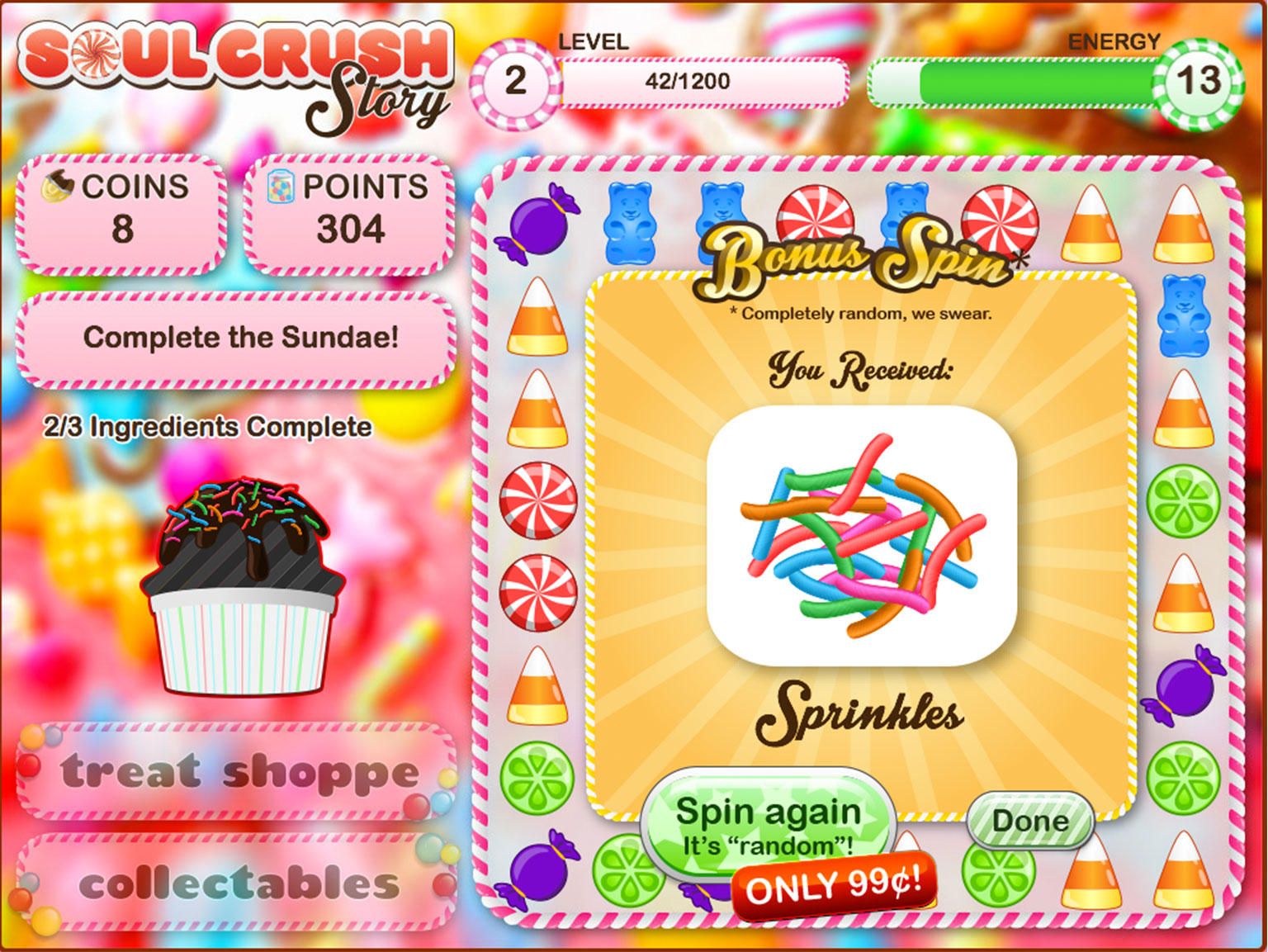"""Screen from online gambling game parody Soul Crush Story with brightly coloured candy and messages including 'Spin again. It's """"random""""! Only 99c!"""