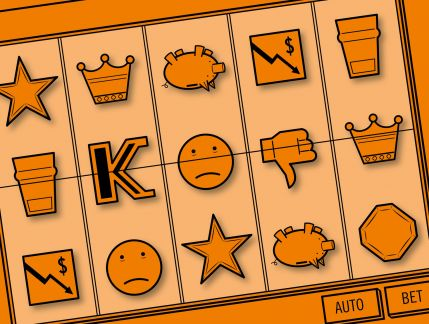 Hand drawn pen sketched image of a close-up of lines on a poker machine. Top line images are a cup, the letter K, a sad face, a thumbs-down symbol and a crown. The line underneath has a down arrow next to a dollar sign, a sad face, star, upside-down piggy bank and an uneven octagon. Two buttons can be seen underneath these lines, being