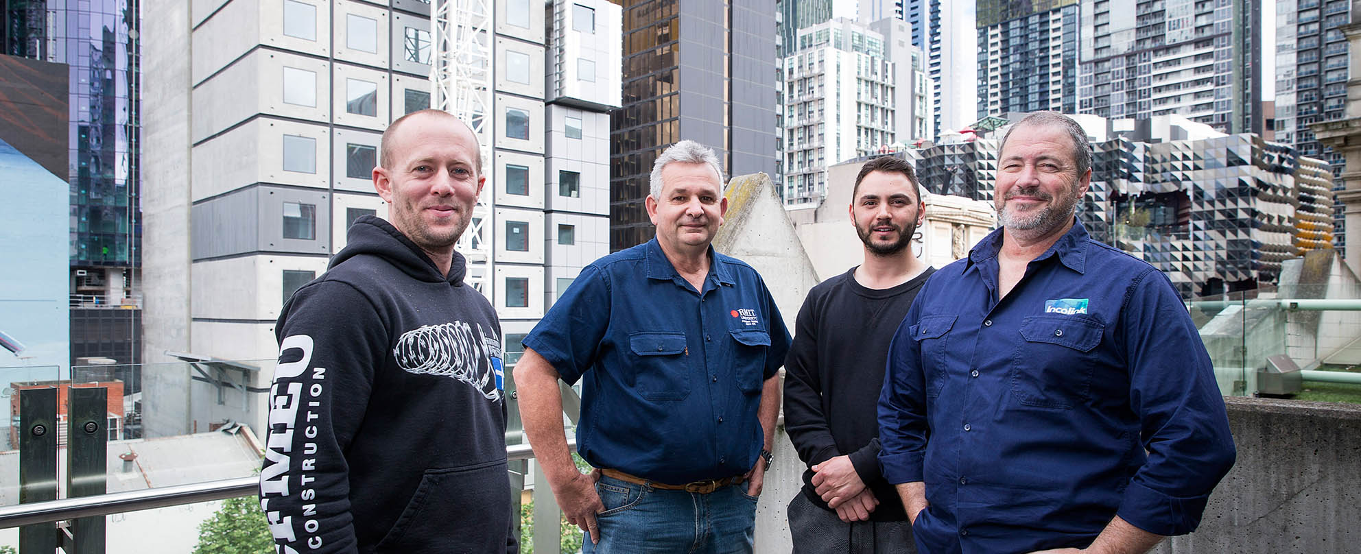 (L to R): plumbing apprentice Andrew Rowe, acting manager of plumbing and gasfitting at RMIT Glen Woods, plumbing apprentice James Ivic, education and support team leader at Incolink David Clark, photo: Paul Jeffers