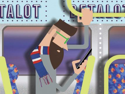 Illustration of 2 commuters on a train. On the left is a bearded man with green glasses, standing and holding on to a rail at the top of the train with one hand. He is looking at his mobile phone with the other. He is wearing a red, white and blue striped scarf. On right right is a man seated and facing forward, wearing a red beanie with white stripes and black glasses. In front of him is a laptop, which he is looking at.