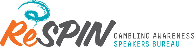"Logo with the text ""ReSPIN - Gambling Awareness Speaker's Bureau"" and an illustrated graphic shape."