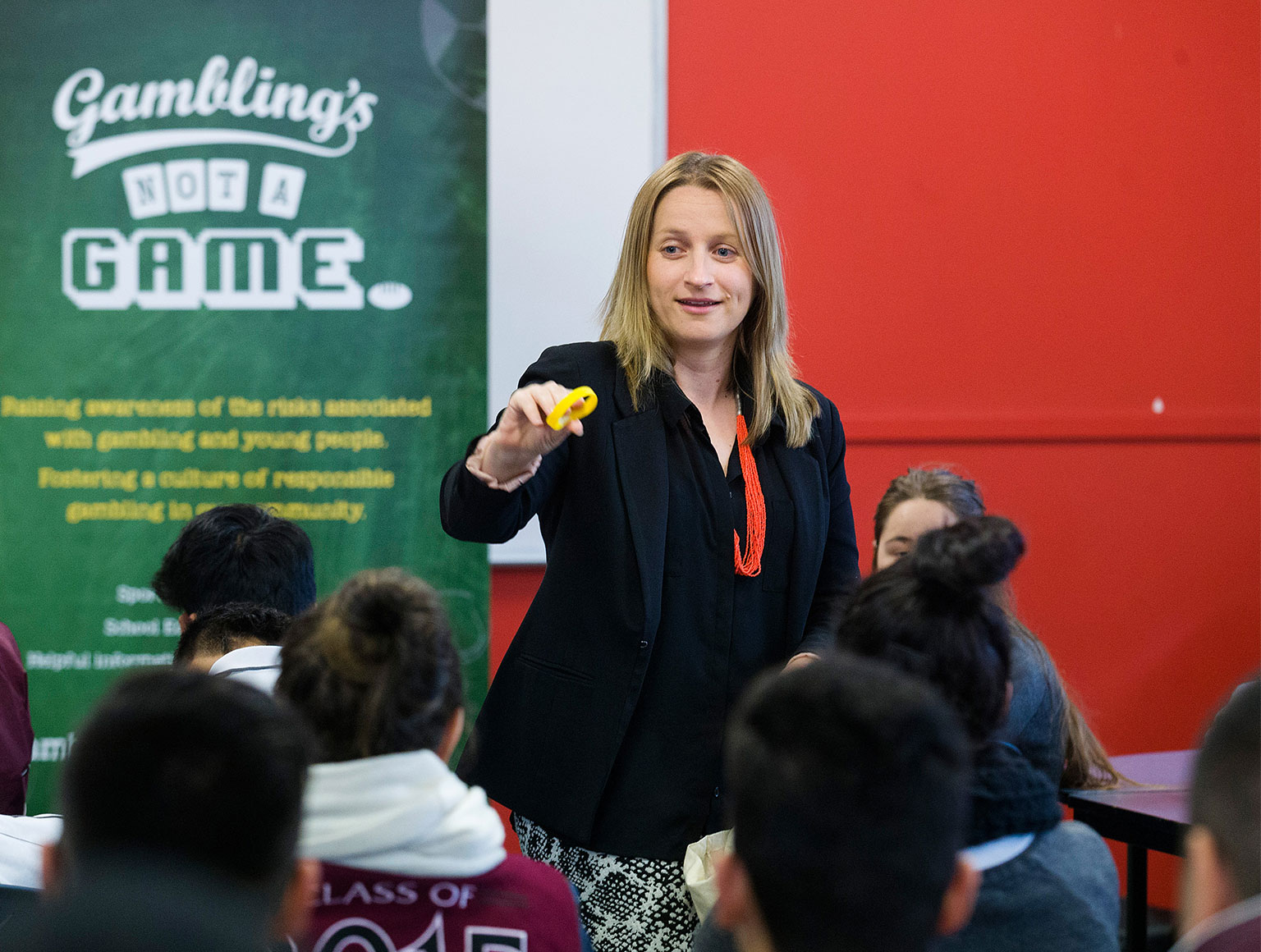 The foundation's prevention program officer Sally Gissing in a classroom