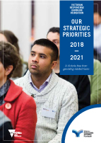 Cover of publication: Victorian Responsible Gambling Foundation, Our strategic priorities 2018-2021, A Victoria free from gambling-related harm.