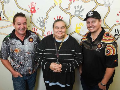(L to R): Glenn Whitling, Belinda Stevens and Darren Harris from Mungabareena Aboriginal Corporation in Wodonga, photo: Mark Jesser