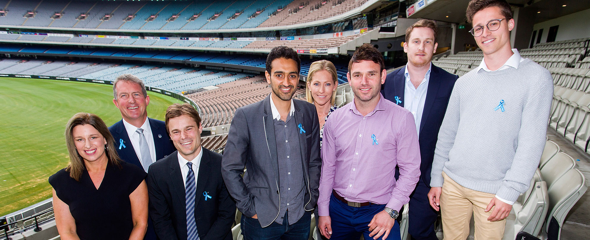 L to R: Associate professor Samantha Thomas, Melbourne Victory chief Ian Robson, AFL Players Association's Brett Johnson, forum host Waleed Aly, sports broadcaster Tiffany Cherry, RGAW champion Brent Guerra, Sportsbet head of responsible gambling Bronte Campbell, RGAW champion Jake Newstadt, photo: Paul Jeffers