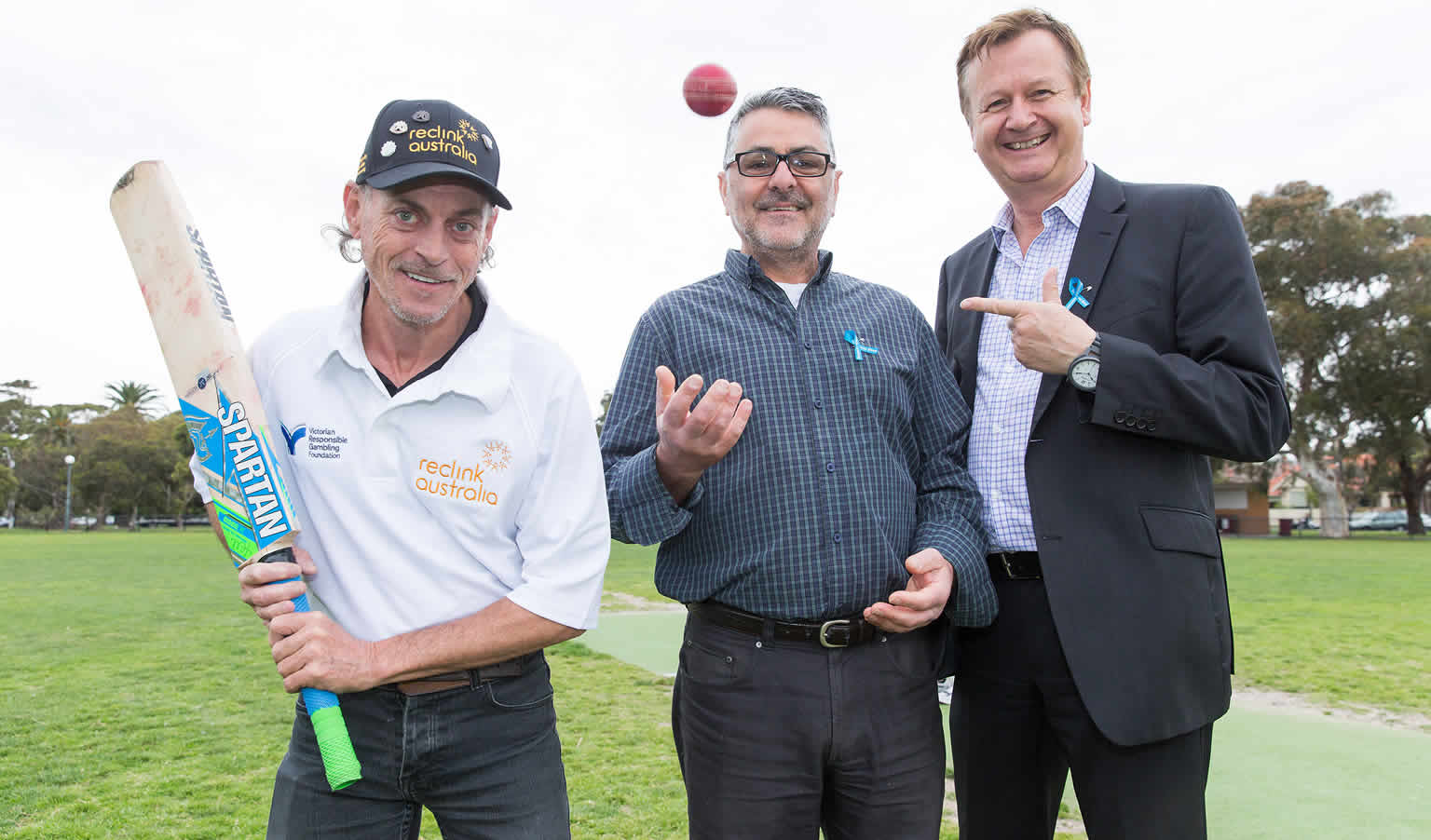 (L to R) Reclink Australia ambassador Brian Presnell,  foundation chief executive Serge Sardo, Reclink Australia chief executive John Ballis, photo: Paul Jeffers