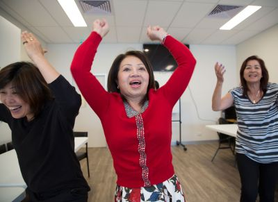 (L to R) Huong Ngo from the Australian Vietnamese Women's Association, Ky and P in rehearsals, photo: Ross Bird