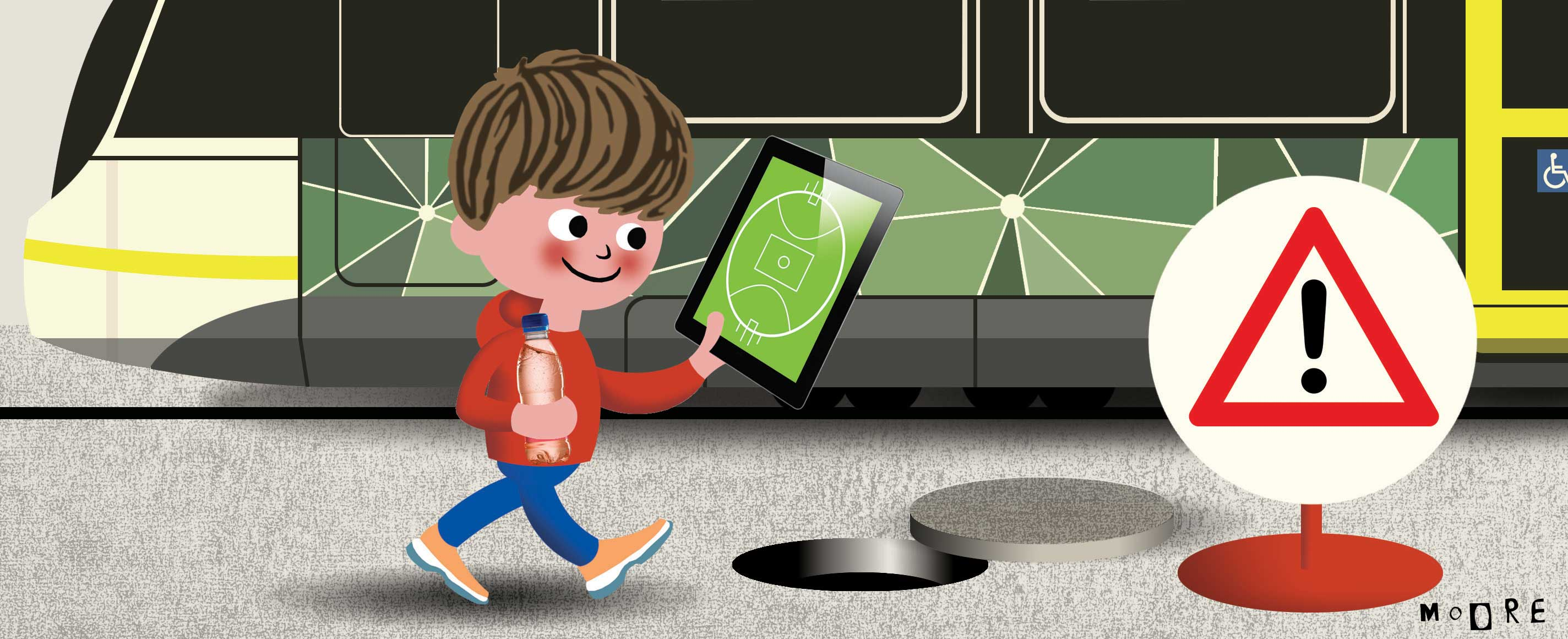 Illustration of a young boy walking along a footpath, holding a softdrink and staring at a tablet device with an AFL football field on it – so he can't see the warning sign and open manhole in the footpath in front of him, which he is about to fall into.